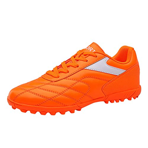 Yucode Mens Soccer Cleats Training Sneaker Outdoor Soccer Shoes Turf Shoe Indoor Cross Training Shoe Orange