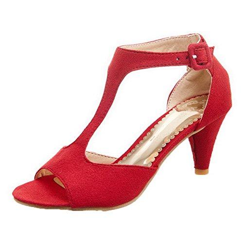 AalarDom Mujer Puntera Abierta Tacón Medio Sólido Hebilla Sandalias de vestir Rojo