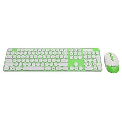 eDealMax 2.4G óptico teclado ratón inalámbrico de teclado de la película Verde del kit Para