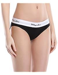 Wingslove 3 Pack Women's Modern Cotton Stretch Sporty Underwear Elastic Bikini Panty