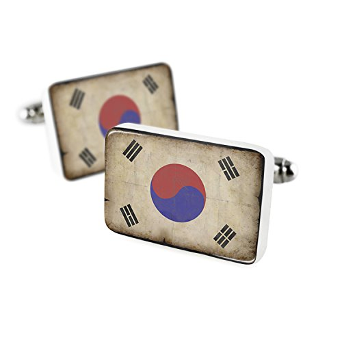 NEONBLOND Cufflinks South Korea Flag with a Vintage Look Porcelain Ceramic