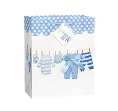 Large Blue Bow Clothesline Boy Baby Shower Gift Bag