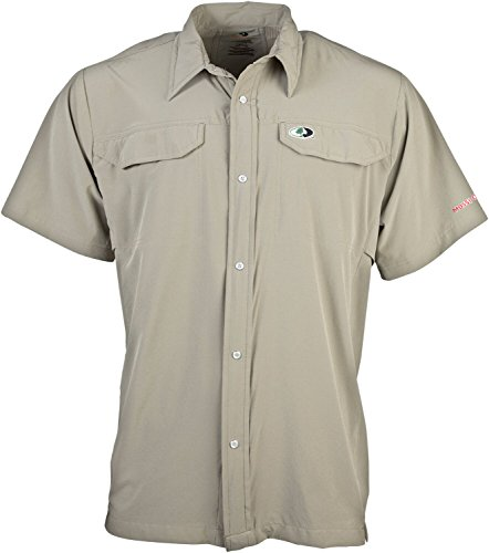 Mossy Oak Men's Short Sleeve Camp Shirt, Sage, Medium