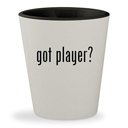 got player? - White Outer & Black Inner Ceramic 1.5oz Shot Glass (Sigo Player Mp3)