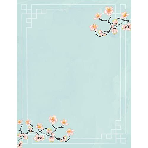 Cheap 100 Stationery Writing Paper, with Cute Floral Designs Perfect for Notes or Letter Writing - Cherry Blossoms hot sale