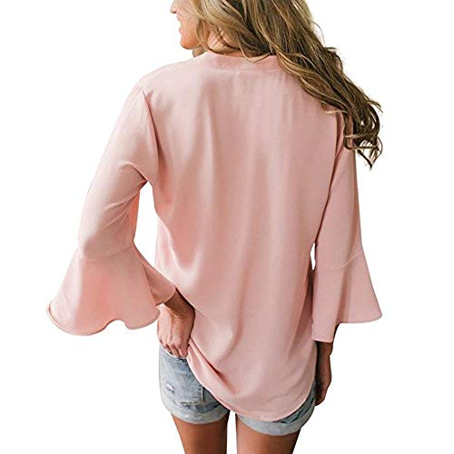 Blouse Femme Solide Manche Weant Femme V Tee Casual Tops Grande Femme Rose Shirt Couleur Shirt Chemisiers Blouses Longue Col Chemise Blouse et Taille 4W6Yqw0cSw