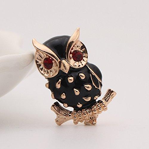 - Meng black drip big eyes red eyes owl brooch temperament fashion bird pin brooch men and women coat
