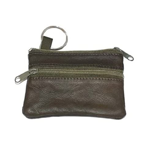 Marshal Women's Leather Change Purse with Key Ring, Brown