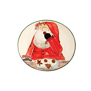 "Vietri Old St. Nick 8.25"" Santa Cookie Plate - Giftboxed"