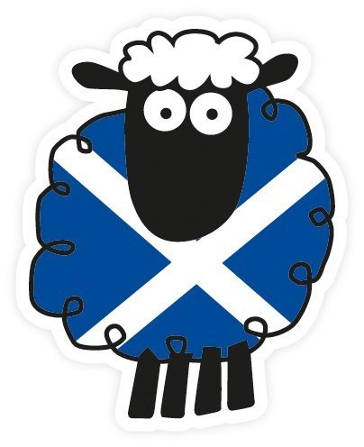 Must Have Souvenirs Scottish St Andrews Saltire Flag Cartoon Sheep Vinyl Car Sticker Decal