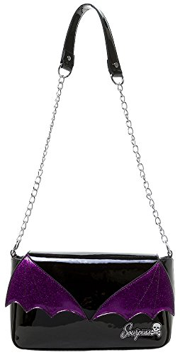 Sourpuss Bat Wing Clutch Purse Black/Purple ()