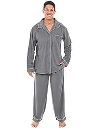 Mens Fleece Pajamas, Long Button-Down Pj Set
