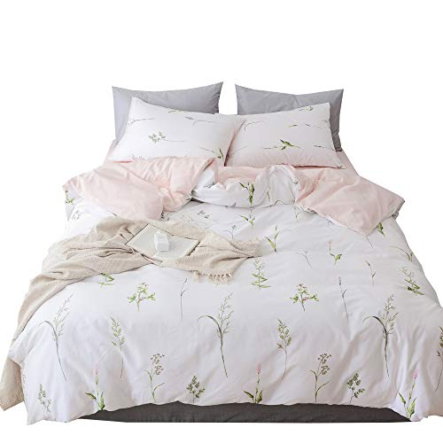 XUKEJU Flower Duvet Cover for Boys/Girls 3 pcs Bedding Set Kids/Adults Plants Leaves Printing Patterns Cotton Soft Floral Comforter Cover Flower #4 Full Queen Size