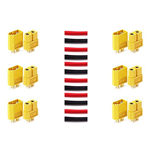 LHI 6 Pairs XT-60 XT60 Male Female Bullet Connectors Plugs For RC Lipo Battery