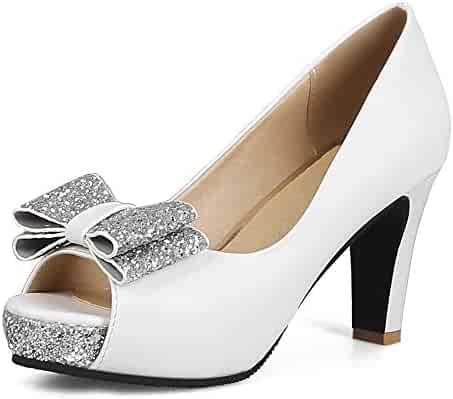 25e4eefbe827f INSTAR Women's Graceful Peep Toe Sequines High Block Heeled Dating Pumps  with Bowknot