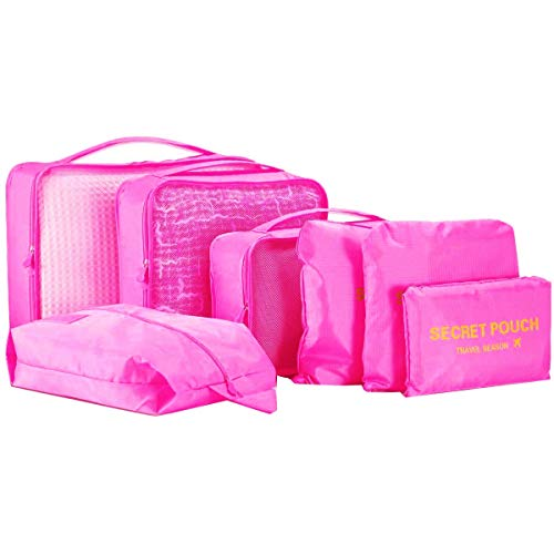 Travel Storage Bag - WantGor Packing Cubes Organizer Luggage Compression Pouches (7Set Big Rose Red)