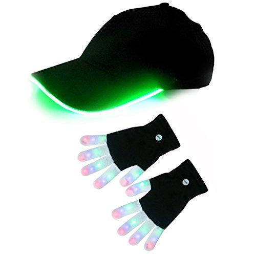 HONGZHESHENFlashing Colorful LED Light Up Show Baseball cap knit mittens Gloves A (Light Up Baseball Caps)