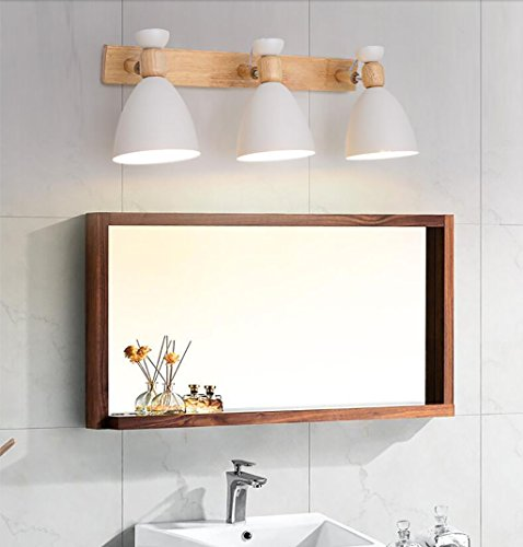 Mirror light Scandinavian style solid wood wall lamp Simple mirror front light -