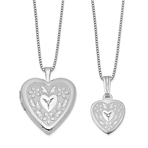 - Sterling Silver Polished & Satin Finish Solitaire Diamond Floral Design Heart Locket Pendant Necklace Set