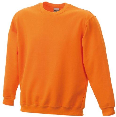 James & Nicholson Felpa Uomo Felpa Arrotondare Sportivo Pesante - cotone, Arancione - arancione, 20% poliestere 80% cotone, 4XL