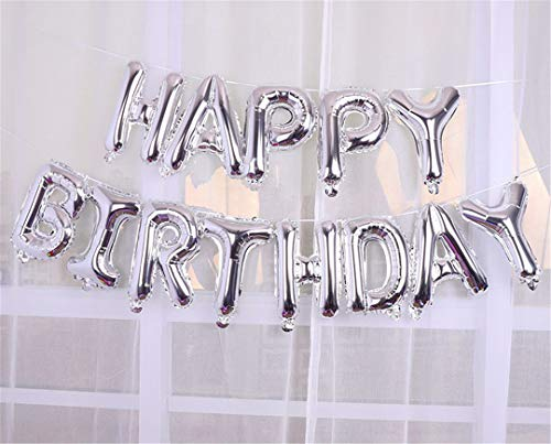 Happy Birthday Letter Balloons 16Inch Foil Ballons Birthday Party Decoration Rose Gold Silver Alphabet Air Balon Kids Gifts Ball Silver Birthday]()