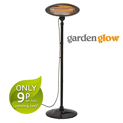 Clifford James Garden Glow 2000W Infrared Electric Garden Outdoor Free Standing Patio Heater with 3 Power Settings (Black)