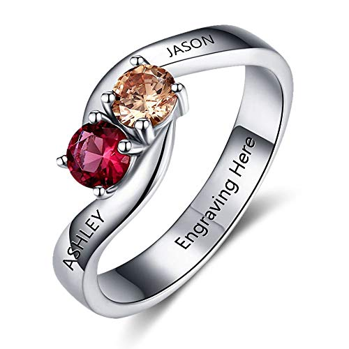 - Love Jewelry Personalized Simulated Birthstones Promise Ring for Her Engraved Valentine's Engagement Ring for Couples (7)