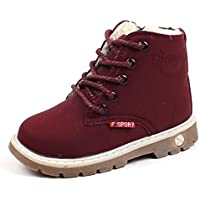 Kimloog Toddler Boys Girls Lace Up Martin Snow Boots Winter Outdoor Hiking Shoes