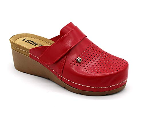 Red New UK LEON 925 Ladies Women Leather Slip On Mules Clogs Slippers Sandals