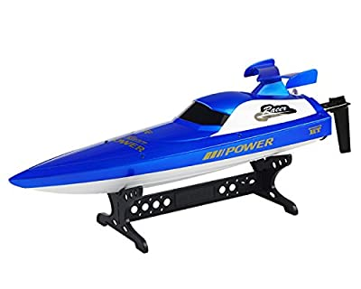 POCO DIVO 2.4Ghz Power Racer RC Racing Boat High Speed Self-righting Remote Control Electric Sports Champion Ship with Anti-crash Rubber Hat - Blue