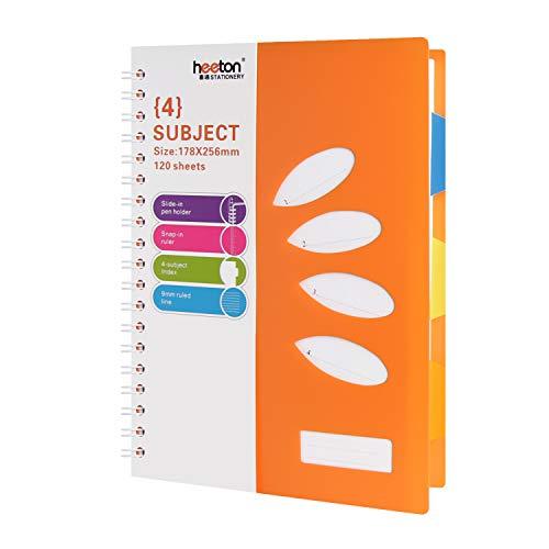 Heeton B5 Spiral Wirebound Notebook, 4 Subject Divider, 10