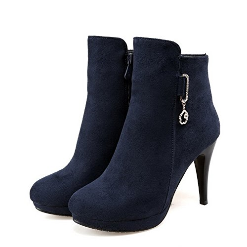 AmoonyFashion Womens Solid Imitated Suede High-Heels Zipper Closed Round Toe Boots Blue vEMkJEk
