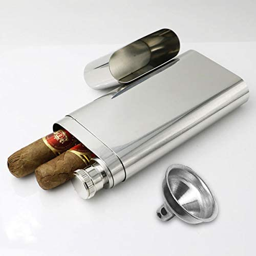 YIJIA Stainless Steel Hip Flask with Cigar Tube and Mini Funnel for Outdoor Activities