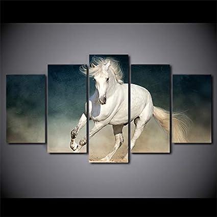 WJDJT Impresiones sobre Lienzo 5 Panel Caballo Animal Blanco Imprimir Cuadro Lienzo Pared Modernos Cartel Decoración para El Hogar De Pared para Hogar Salón Oficina Decoración Regalo