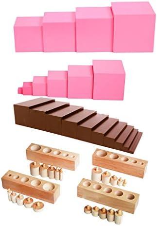 Fenteer Juego de Juguete Montessori, Incluye Torre Rosa, Bolas de Cuentas Matemáticas, Bloques de Cilindro Juguetes de Madera: Amazon.es: Juguetes y juegos