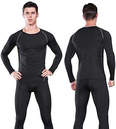 FANDIMU MENS THERMAL UNDERWEAR SET SKIING WINTER WARM BASE LAYERS TIGHT LONG JOHNS TOPS AND BOTTOM SET WITH FLEECE LINED