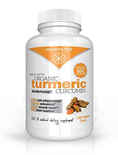 Quality Organic Turmeric Curcumin containing High Potency 95% Standardized Curcuminoids and Bioperine® Black Pepper Extract (120)