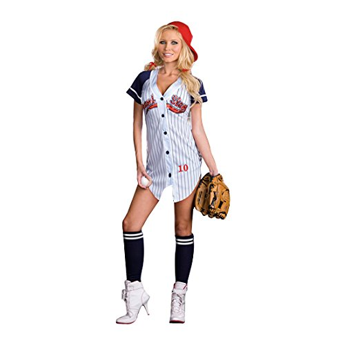 Dreamgirl Women's Grand Slam Baseball Costume, Lt. Blue (Grand Slam Costume Baseball)