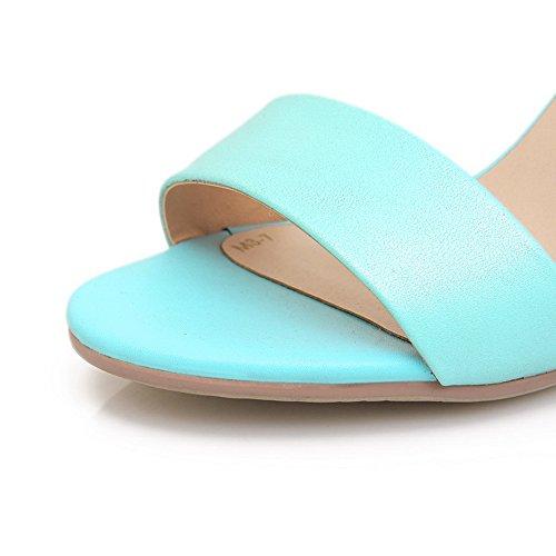 Amoonyfashion Damesschoenen Open Teen Kitten Hak Stiletto Rundleder Zacht Materiaal Degelijke Sandalen Met Gesp Blauw