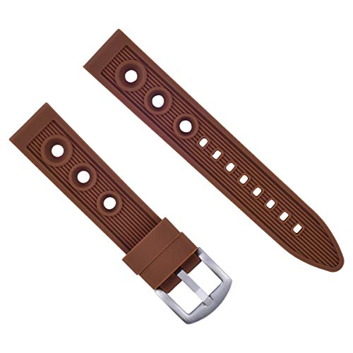 20MM Rubber Watch Band Strap for BREITLING COLT II, Abyss Super Ocean Brown 9R