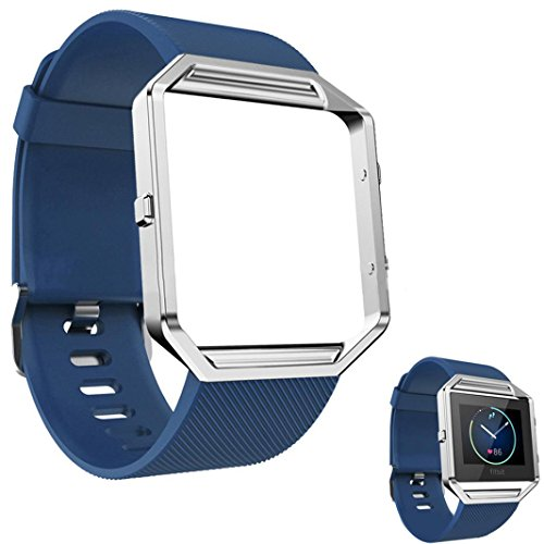 DECVO For Fitbit Blaze Bands, Silicone Replacement Band Strap with Stainless Steel Frame Case for Fitbit Blaze Smart Fitness Watch for Women Men Girls Boys Sliver Case (Blue, 1 PC) (Fossil Athletic Watch)