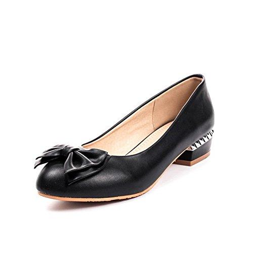 Balamasa Dames Solides Bas Talons Haut Cuir Pompes-chaussures Noir
