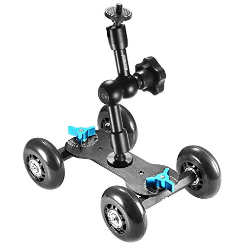 Neewer Table Mobile Rolling Slider Dolly Car (Black) and 7 inches Adjustable Articulating Magic Arm, Skater Video Track Rail Stabilizer with Load Capacity 10 kilograms/22 pounds for DSLRs Flash Lights by Neewer