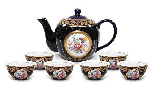 - Royalty Porcelain 7pc Flower-Patterned Dark Blue Tea Set, 24K Gold-Plated Original Cobalt Tableware, Service for 6
