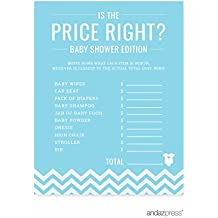 Andaz Press Baby Blue Chevron Boy Baby Shower Collection, Games, Activities, Decorations, Is the Price Right Game Cards, 20-pack