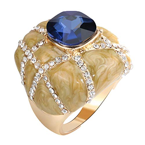 MARRLY.H Unique Big Ring Fashion Gold Enamel Rings for Women Blue Glass Stone and White Crystal Cross Mosaic Vintage Jewelry Blue 8 ()