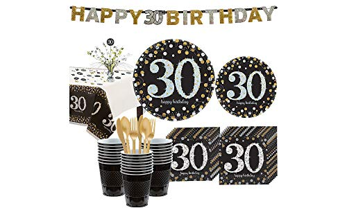 (Party City Sparkling Celebration 30th Birthday Party Kit for 32 Guests, 268 Pieces, Includes Tableware and Decorations)