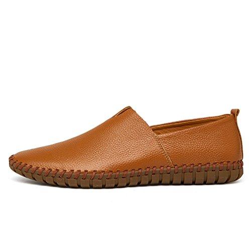 vaca los Brown deslizamiento hombres en de la a suave MÁS cuero el barco TAMAÑO para zapato de Mocasines azul hechos de del mano hombre genuino de Bridfa Mocasines cuero 38~47 nCAYw4Sq