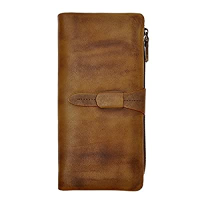 ZLYC Women's Handmade Soft Leather Long Clutch Card Holder Wallet Fits iPhone 8 X