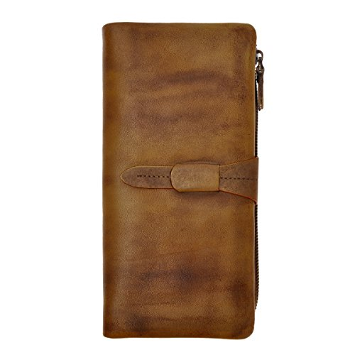 ZLYC Women's Handmade Soft Leather Long Clutch Card Holder Wallet Fits iPhone 6 Plus, Brown
